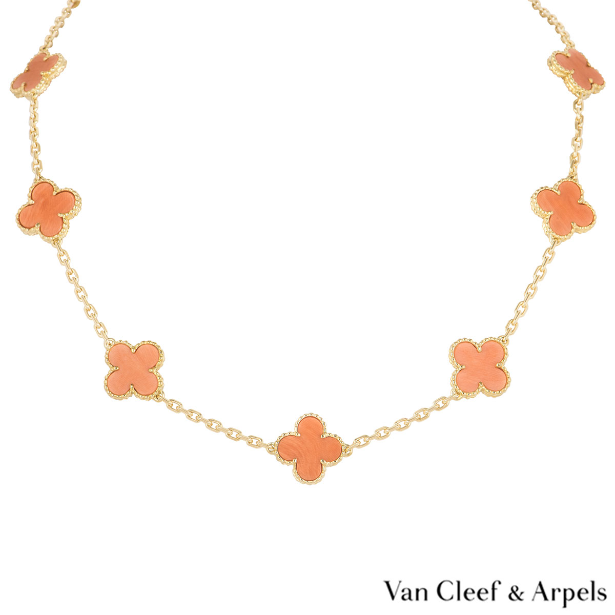 Van Cleef & Arpels Yellow Gold Coral Alhambra Necklace